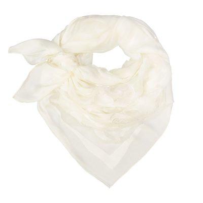 755001363a3 100% Silk Grace foulard in White